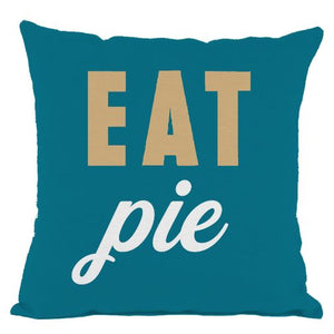 Dark Teal Eat Pie Throw Pillow