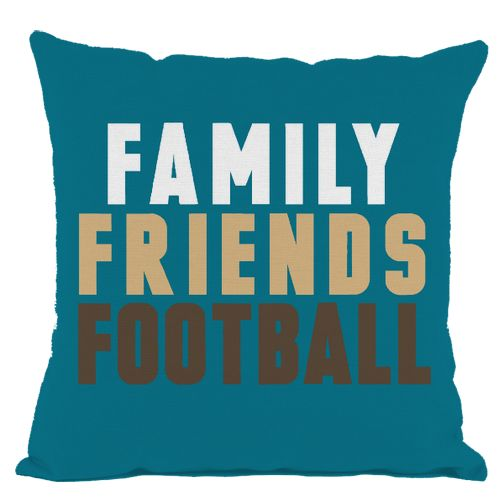Dark Teal Family Friends Football Throw Pillow