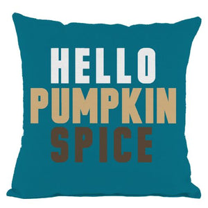 Dark Teal Hello Pumpkin Spice Throw Pillow