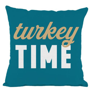Dark Teal Turkey Time Throw Pillow