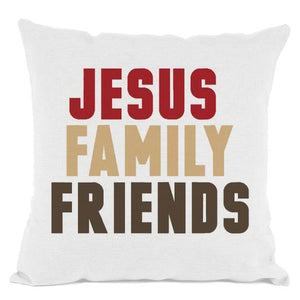 White Jesus Family Friends Throw Pillow