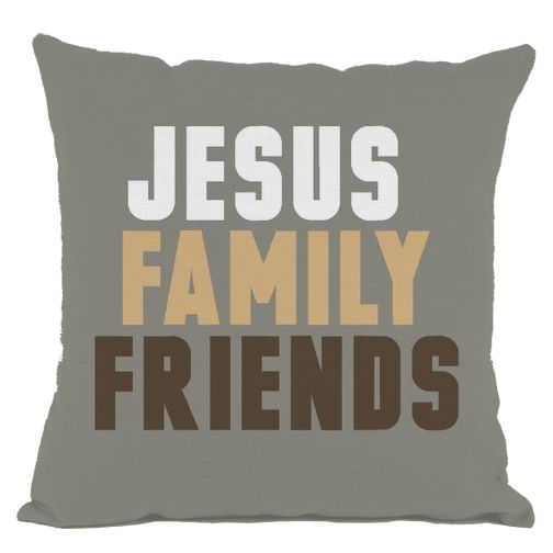 Grey Jesus Family and Friends Throw Pillow