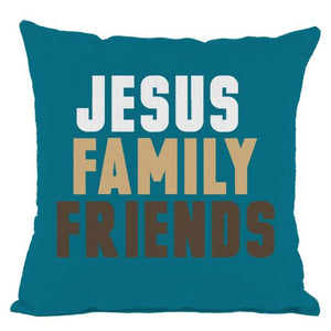 Dark Teal Jesus Family and Friends Throw Pillow