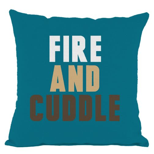 Dark Teal Fire and Cuddle Throw Pillow