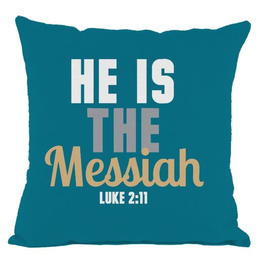 Dark Teal He is Messiah Throw Pillow