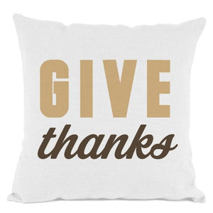 White Give Thanks Throw Pillow