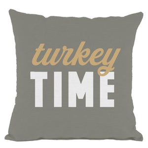 Grey Turkey Time Throw Pillow