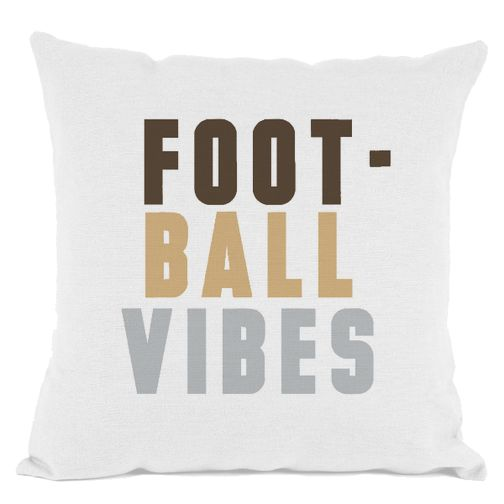 White Football Vibes Throw Pillow