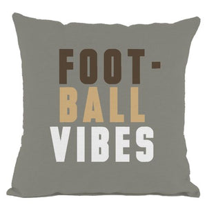 Grey Football Vibes Throw Pillow