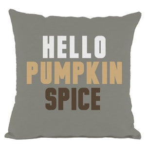 Grey Hello Pumpkin Spice Throw Pillow