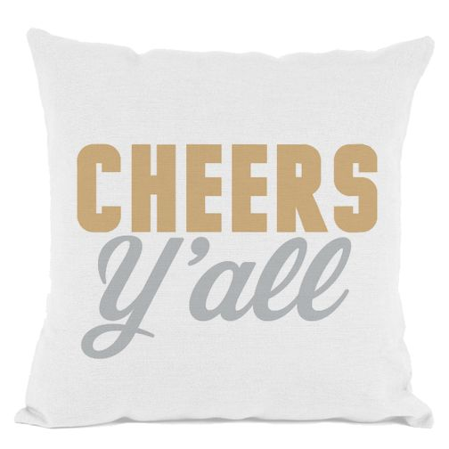 White Cheers Y'all Throw Pillow