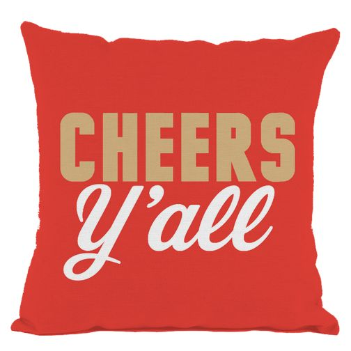 Red Cheers Y'all Throw Pillow