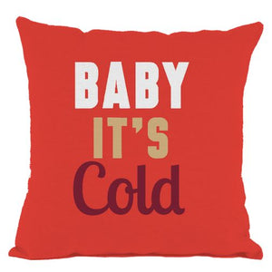 Red Baby Its Cold Throw Pillow