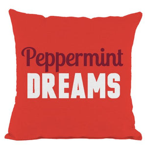 Red Peppermint Dreams Throw Pillow
