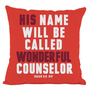 Red Wonderful Counselor Scripture Throw Pillow