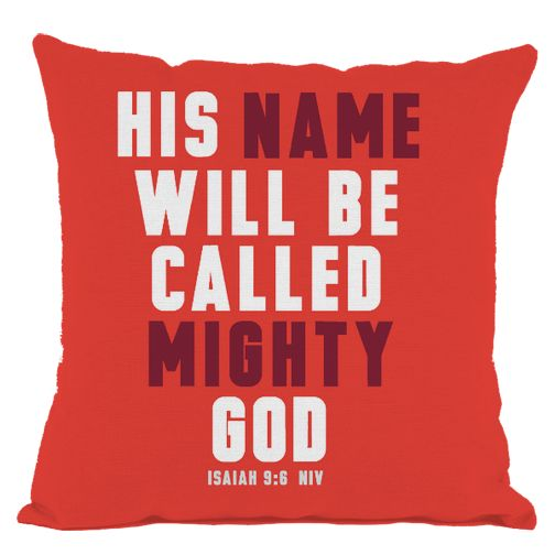 Red Mighty God Scripture Throw Pillow