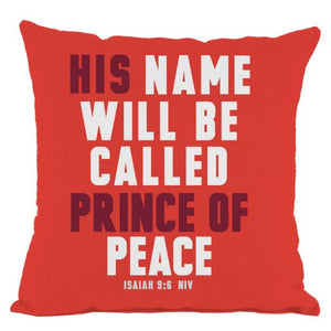 Red Prince of Peace Scripture Throw Pillow
