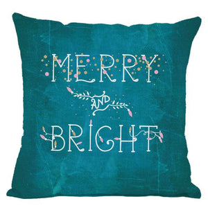 Chalkboard Merry and Bright Throw Pillow