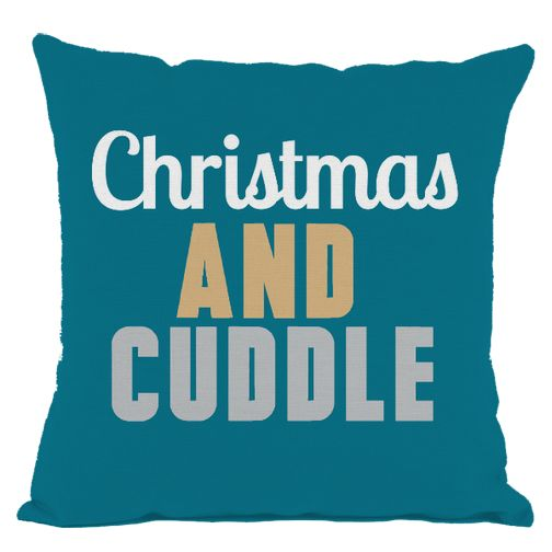 Dark Teal Christmas and Cuddle Throw Pillow