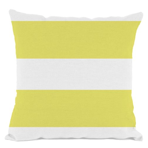 White and Yellow Striped Throw Pillow