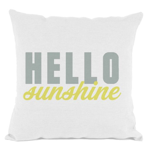 White Hello Sunshine Throw Pillow