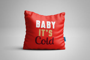 Fun, Festive Baby It's Cold Red Christmas Throw Pillow