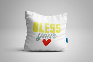 Fun, Festive Bless Your Heart White Throw Pillow