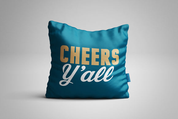 Fun, Festive Cheers Y'all Dark Teal Throw Pillow