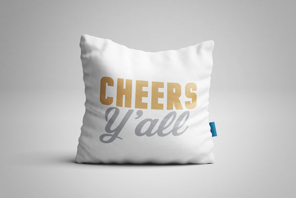 Fun, Festive Cheers Y'all White Christmas Throw Pillow