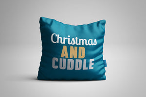 Fun, Festive Christmas and Cuddle Dark Teal Throw Pillow