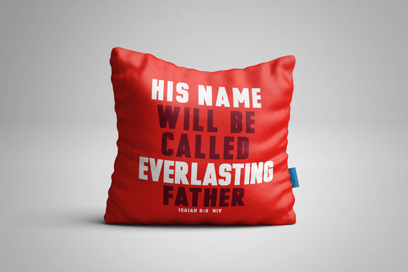Fun, Festive Everlasting Father Christmas Isaiah 9:6 Scripture Throw Pillow