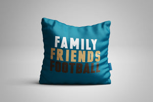 Fun, Festive Family Friends Football Dark Teal Throw Pillow