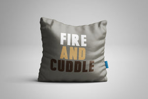 Fun, Festive Fire and Cuddle Grey Throw Pillow