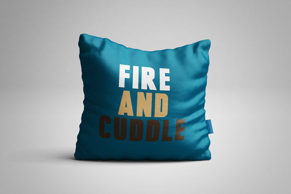 Fun, Festive Fire and Cuddle Dark Teal Throw Pillow