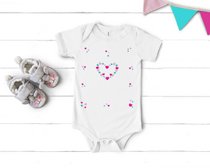 Baby Girl Fluttering Heart Pink and Aqua Onesie