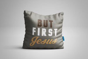 Fun, Festive But First Jesus Grey Throw Pillow