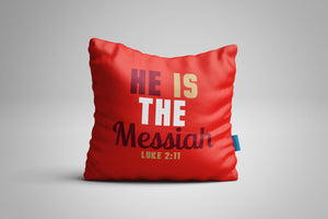 Fun, Festive Red He is the Messiah Christmas Luke 2:11 Scripture Throw Pillow