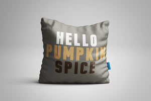 Fun, Festive Hello Pumpkin Spice Grey Throw Pillow