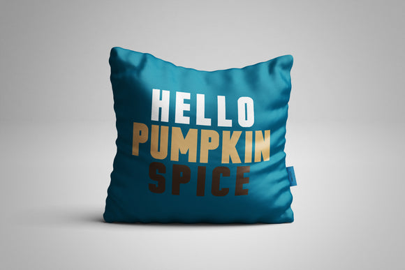 Fun, Festive Hello Pumpkin Spice Dark Teal Throw Pillow