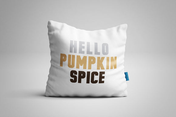 Fun, Festive Hello Pumpkin Spice White Throw Pillow