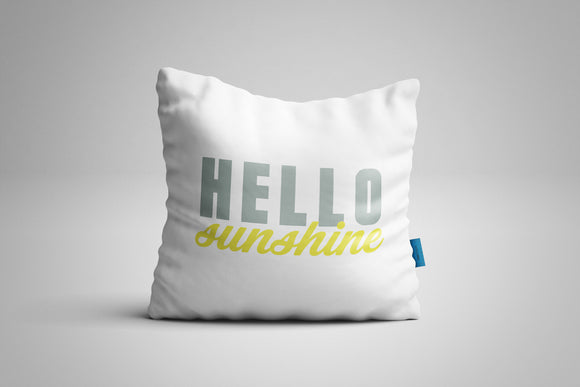 Fun, Festive Hello Sunshine White Throw Pillow