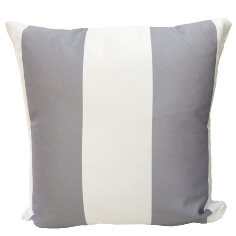 Grey and White Color Block Throw Pillow