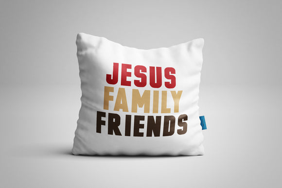 Fun, Festive Jesus Family Friends White Throw Pillow