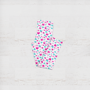 Girls Fluttering Heart Pink and Aqua Kid's Leggings
