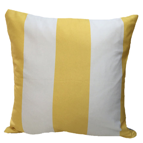 Yellow and White Color Block Throw Pillow