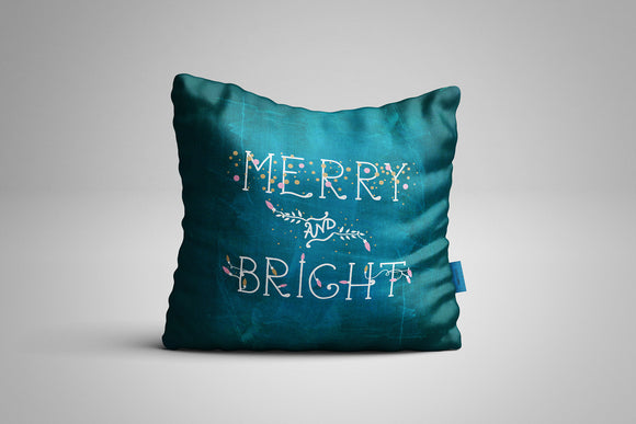 Fun, Festive Merry and Bright Chalkboard Throw Pillow