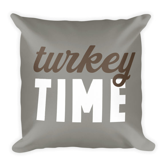 Grey Turkey Time Fall Throw Pillow