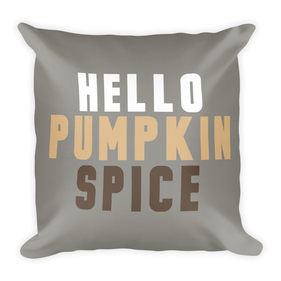 Grey Hello Pumpkin Spice Fall Throw Pillow