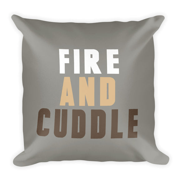 Grey Fire & Cuddle Fall Throw Pillow