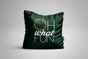 Fun, Festive Oh What Fun Chalkboard Throw Pillow